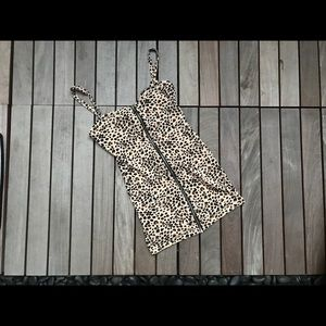DIVIDED | Leopard Front Zipper Dress